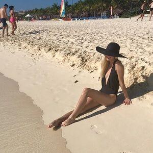 Gianni Bini Black Low Cut One Piece Swimsuit